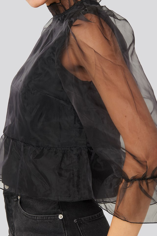 Oversized Organza Puff Sleeve Top Black