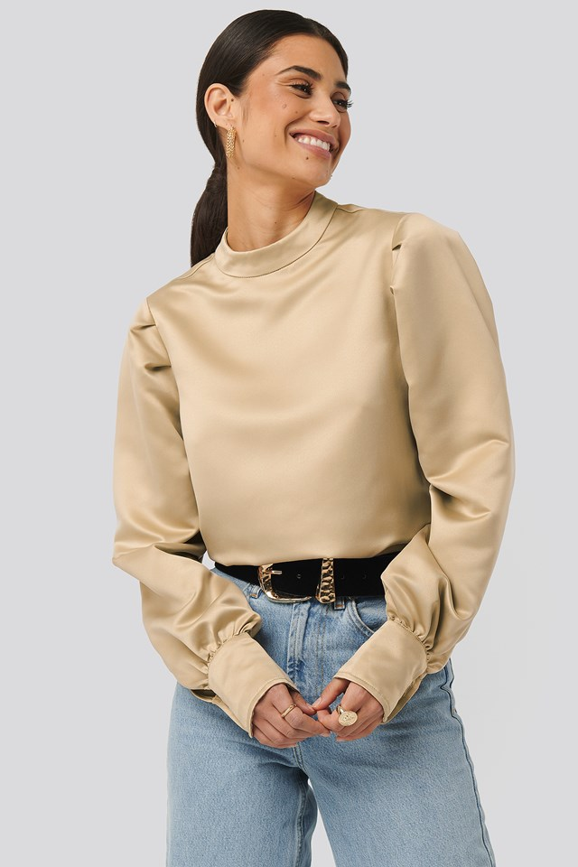 Oversized Puff Sleeve Blouse Beige