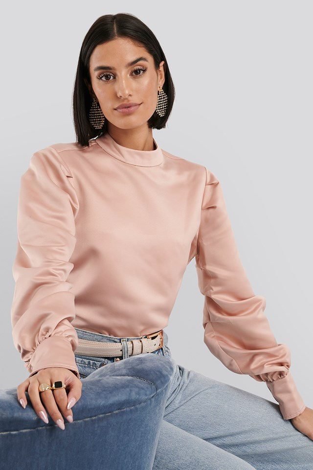 Oversized Puff Sleeve Blouse Dusty Pink