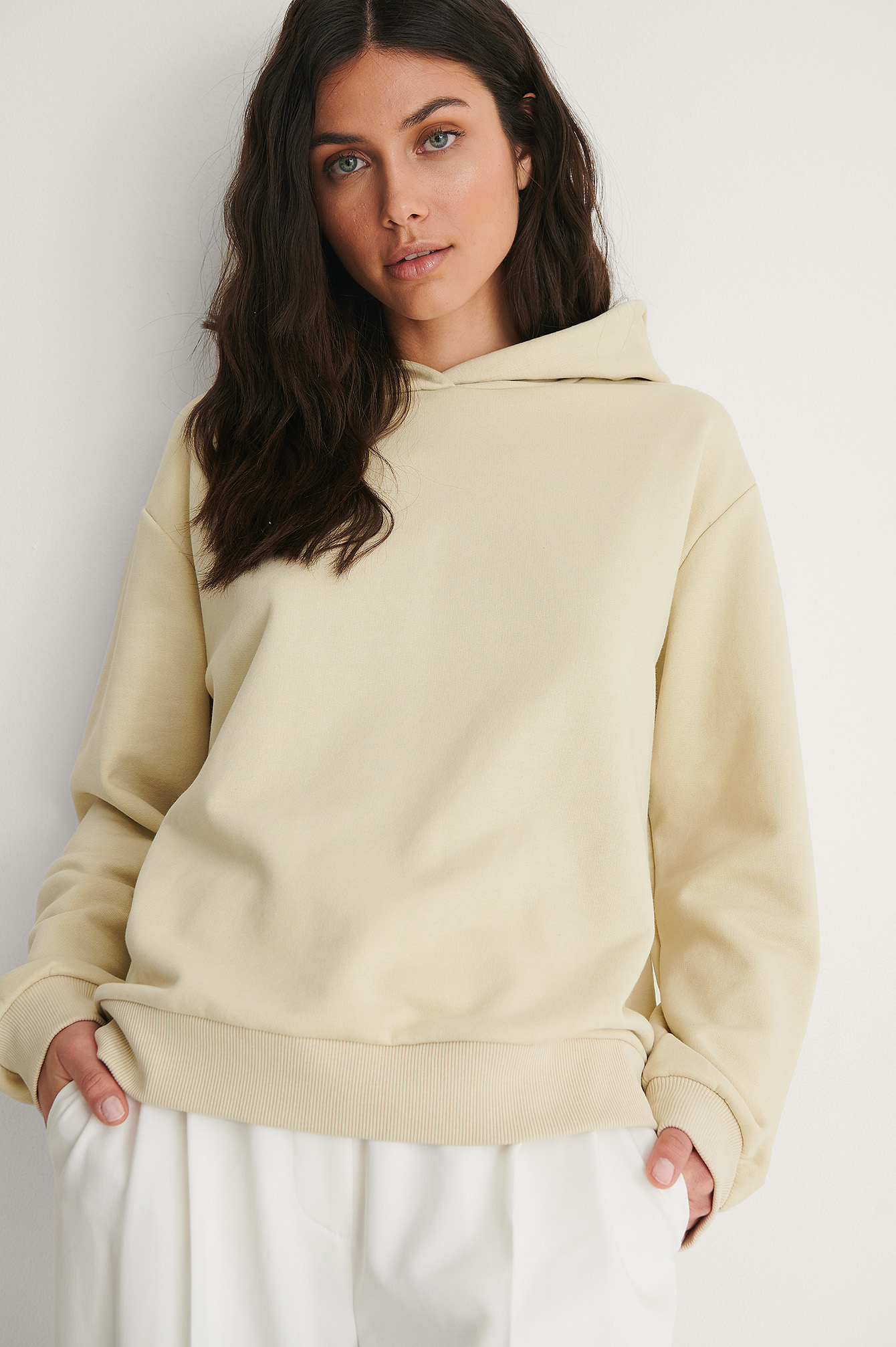 Beige Oversized Relaxed Hoodie