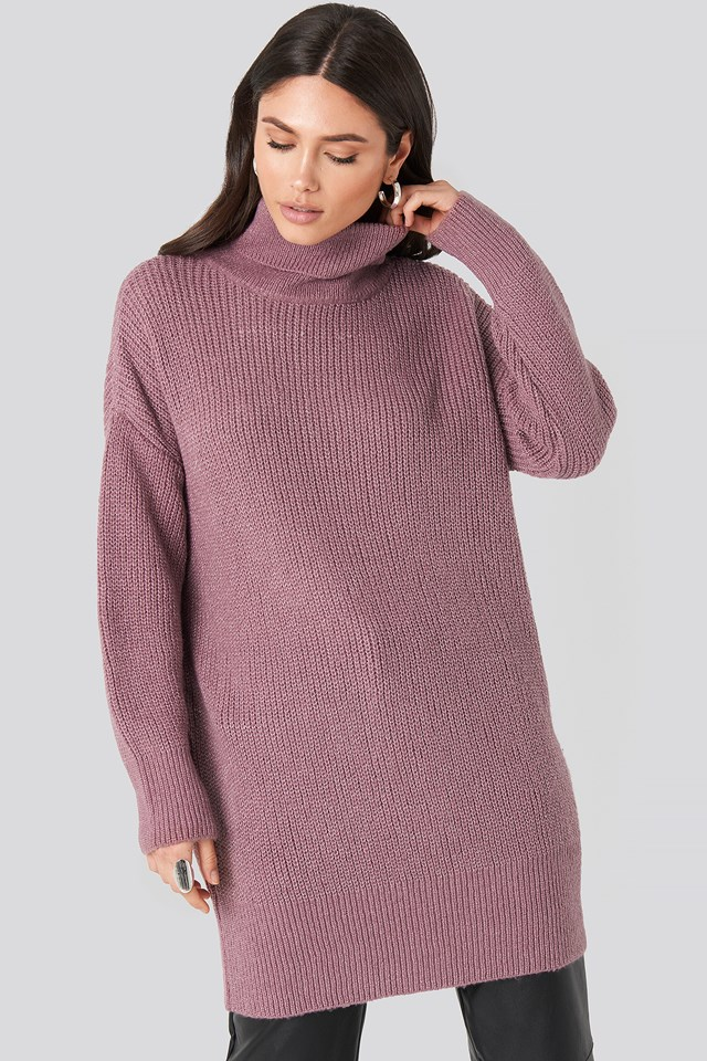 Oversized Roll Neck Sweater Purple