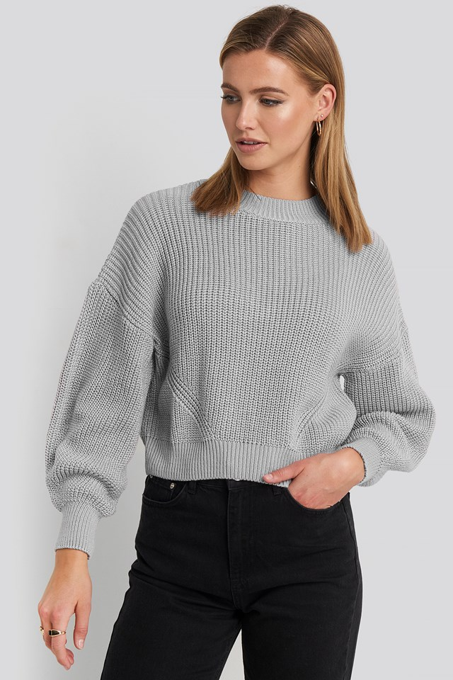 Oversized Sleeve Round Neck Sweater NA-KD