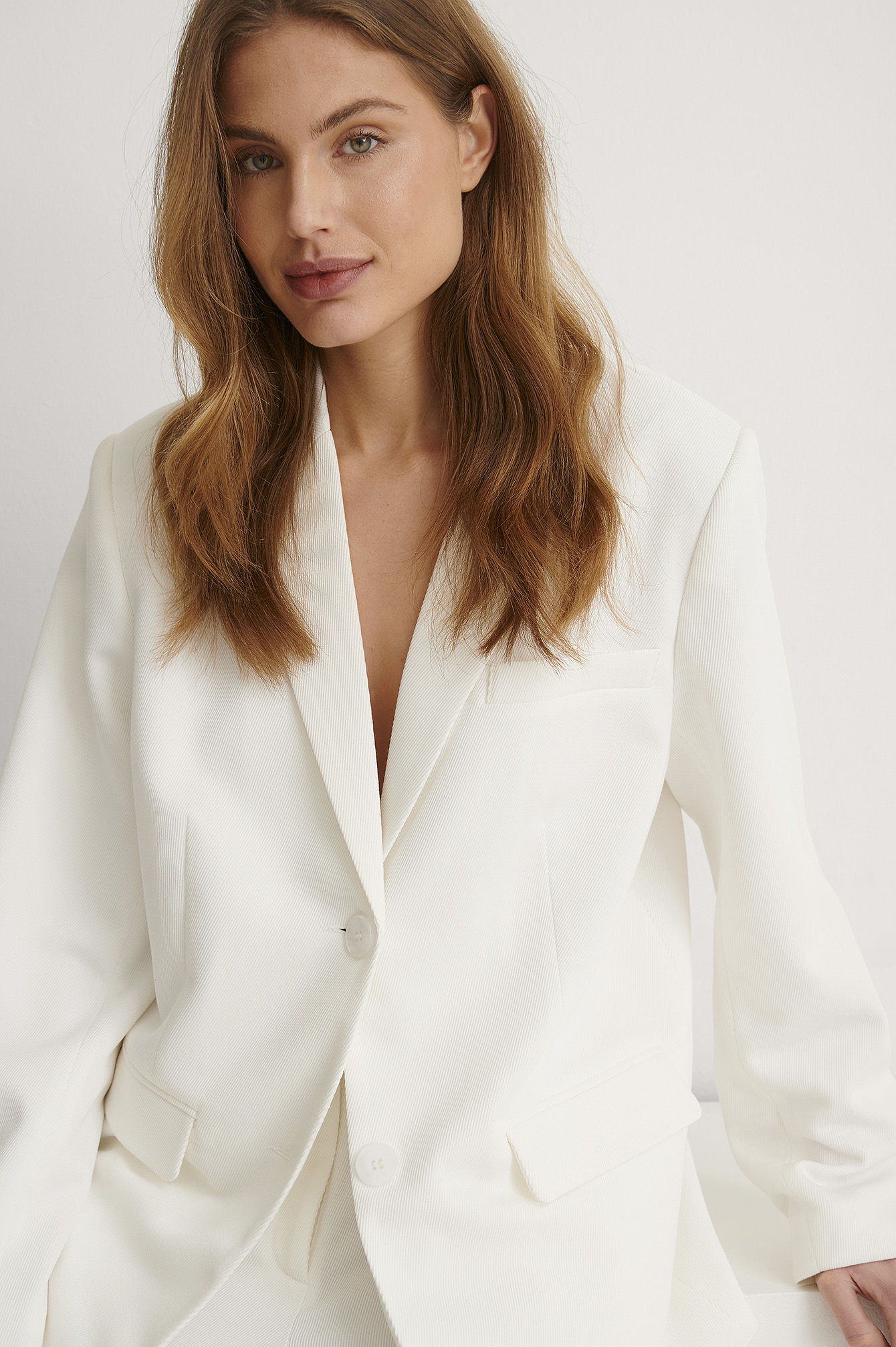 White Oversized Twill Blazer