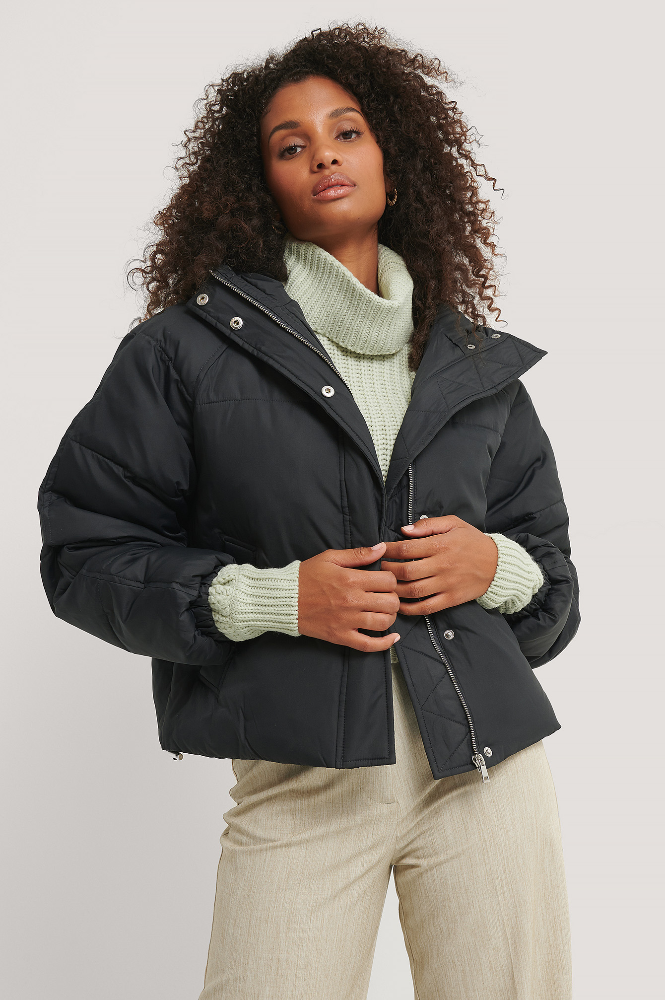 Black Padded Hood Drawstring Jacket