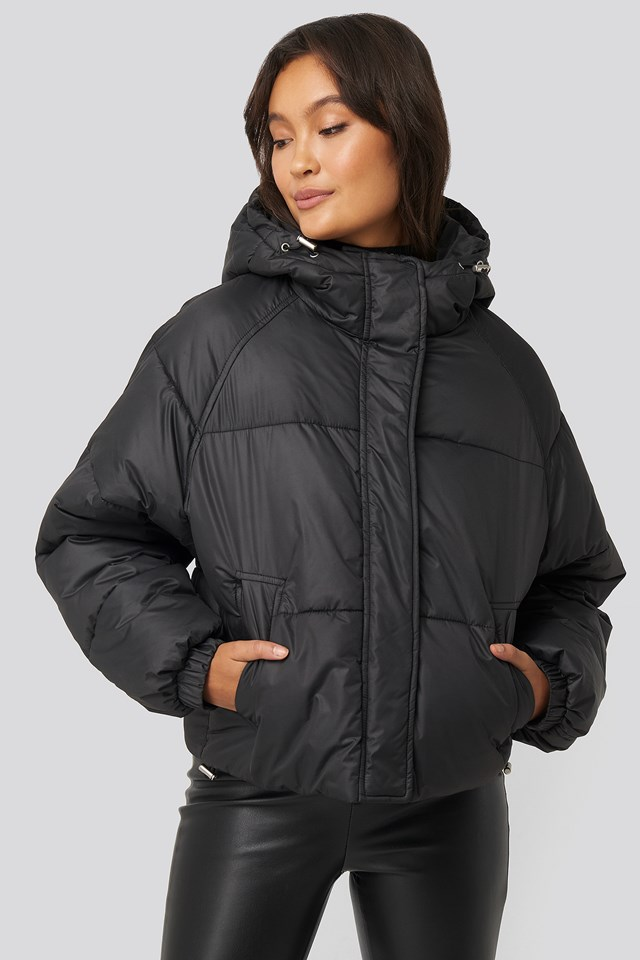 Padded Hood Short Jacket Black