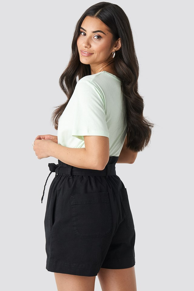 Paper Bag Cotton Shorts Black