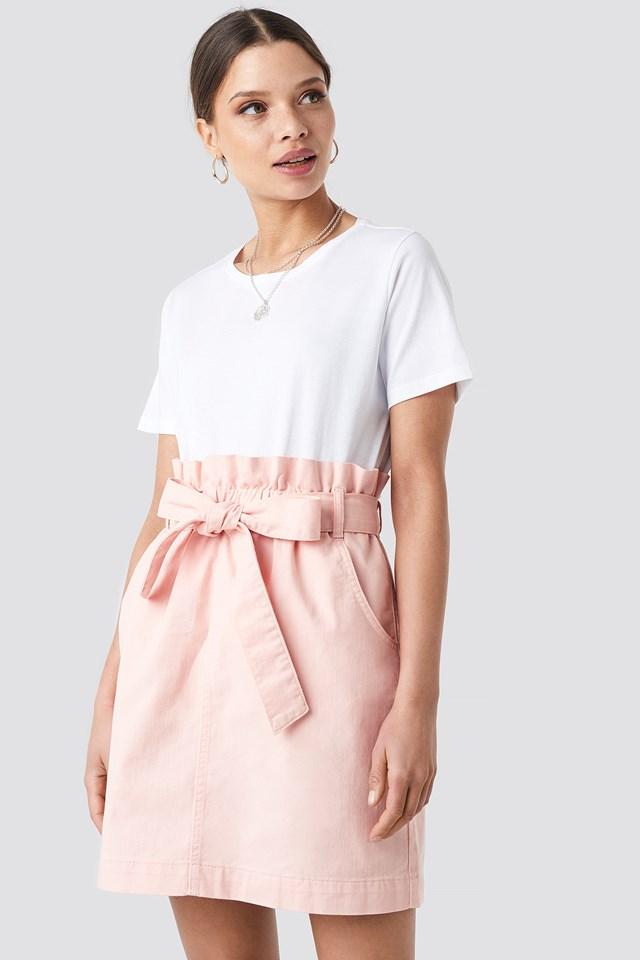Paper Bag Waist Denim Mini Skirt NA-KD