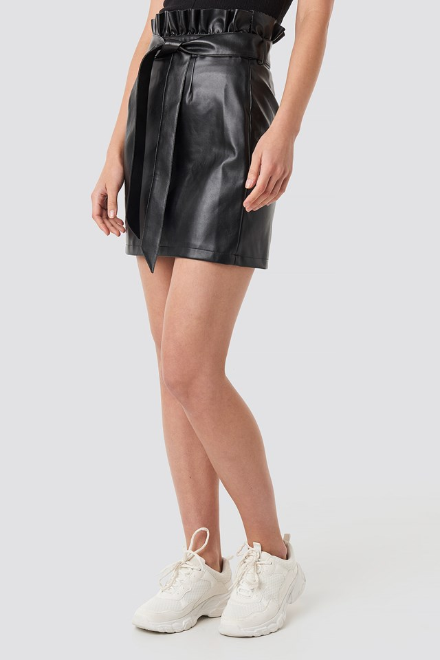 Paper Tied Waist PU Skirt Black