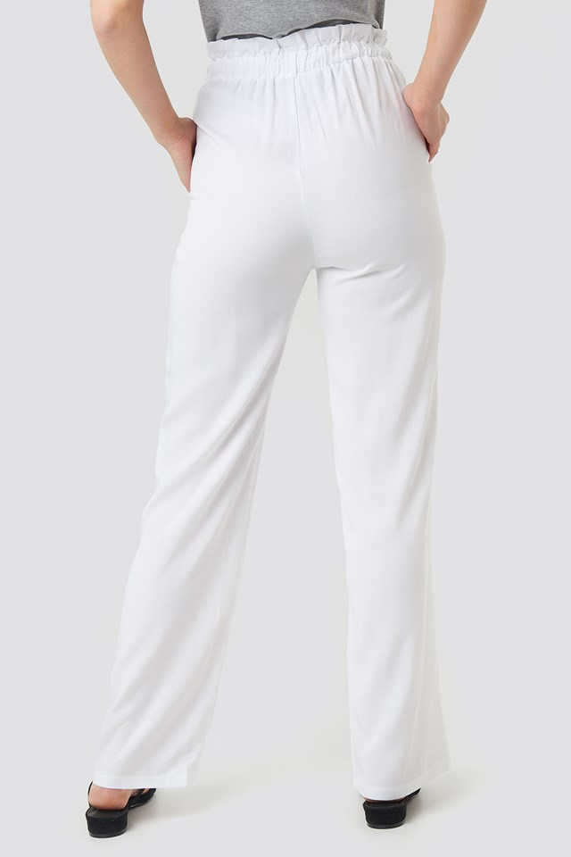 Paperbag Wide Leg Trousers White