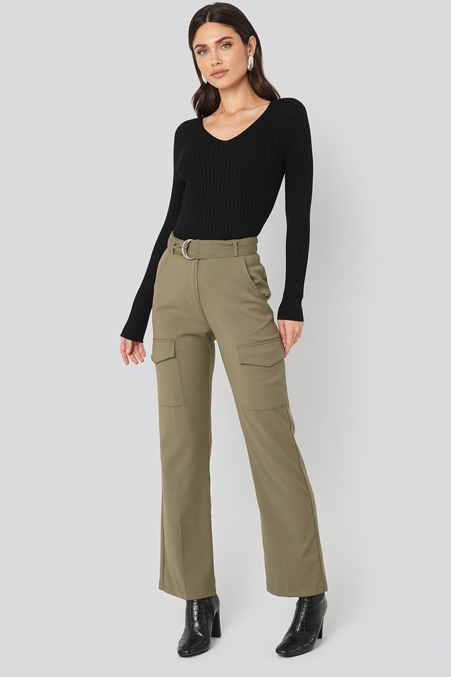 Patch Pocket Belted Pants Khaki Green