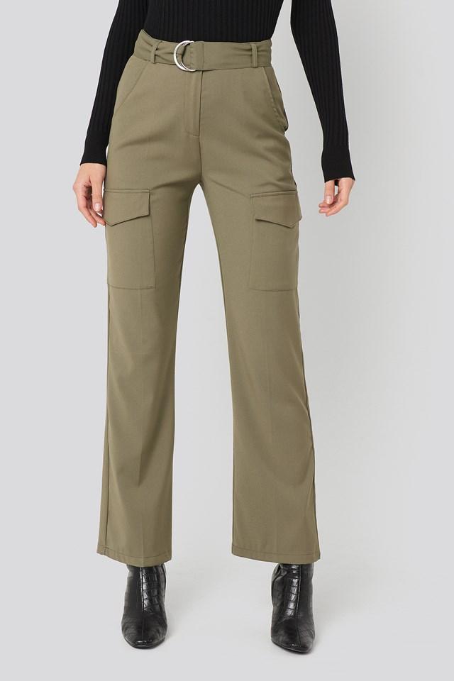 Patch Pocket Belted Pants Khaki Green