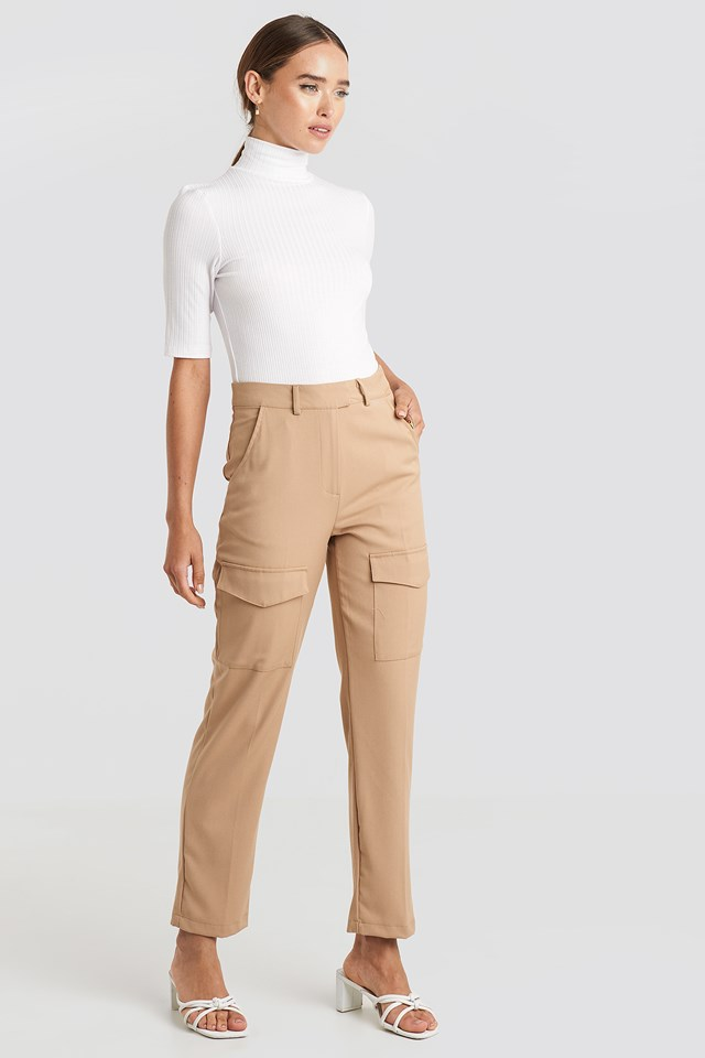 Patch Pocket Straight Pants NA-KD Trend