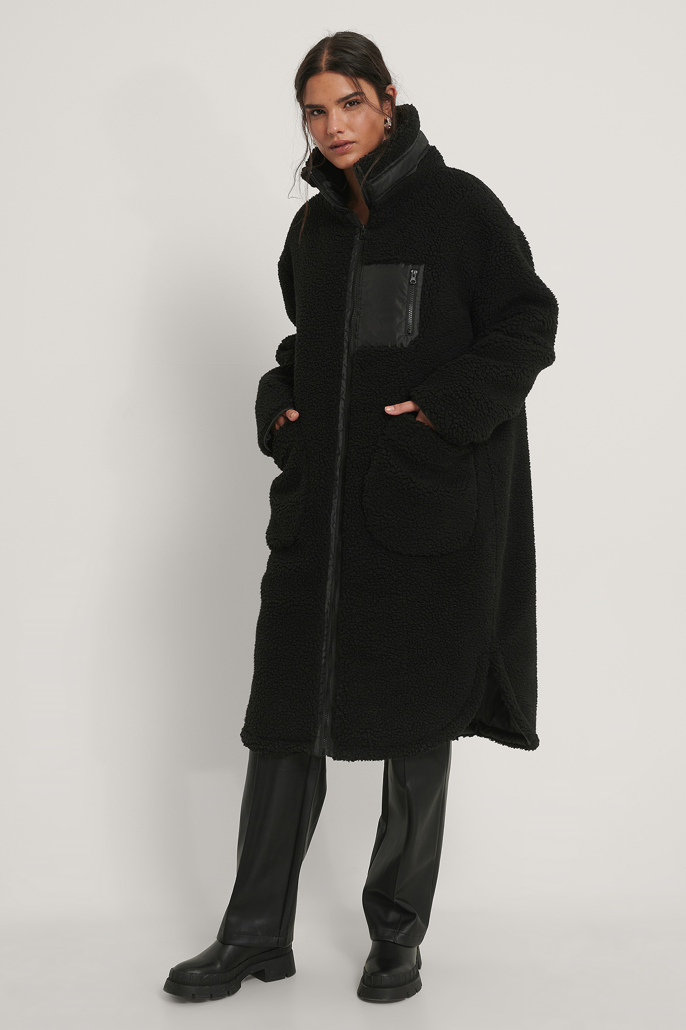 Black Patch Pocket Teddy Coat
