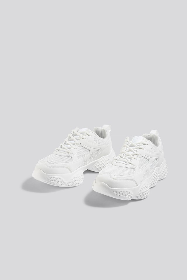 Patterned Wavy Sole Trainers White