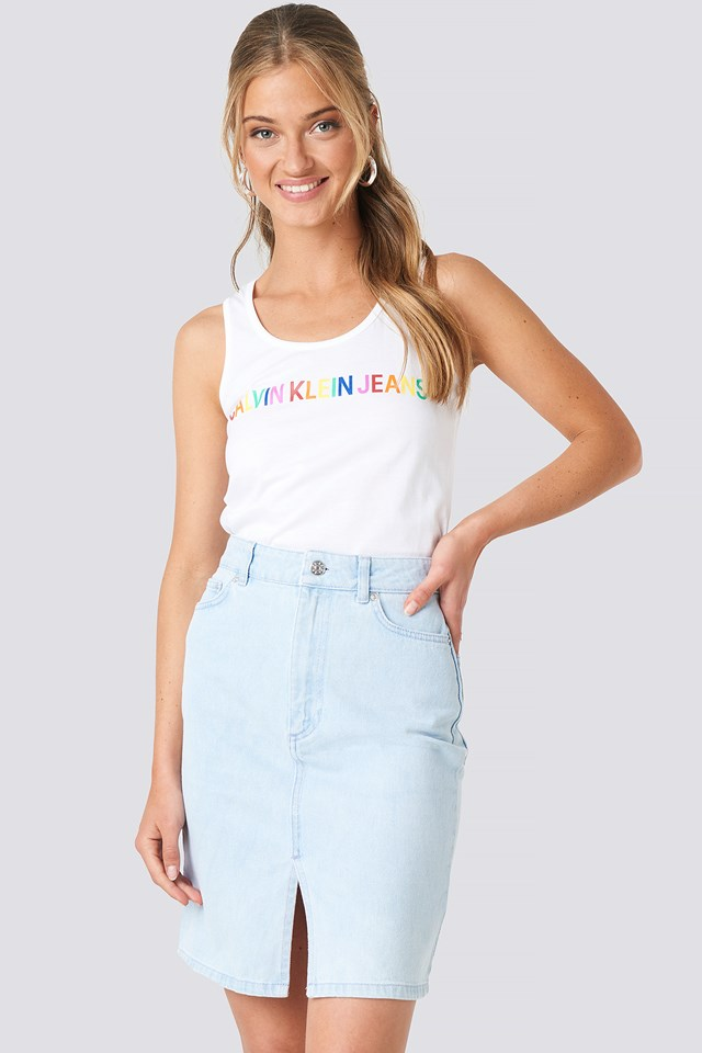 Pencil Denim Mini Skirt Light Blue Wash