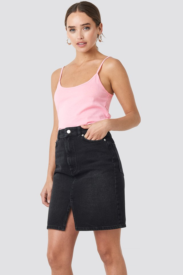 Pencil Denim Mini Skirt Black