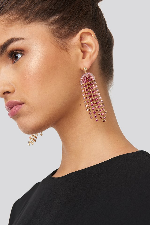 Pink Rhinestone Drop Earrings NA-KD Accessories