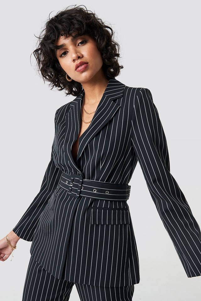 Pinstriped Belted Blazer NA-KD Classic