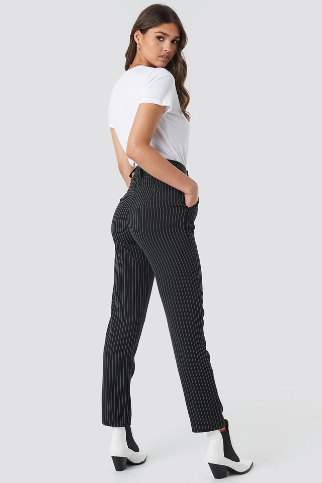 Pinstriped Cigarette Pants Black