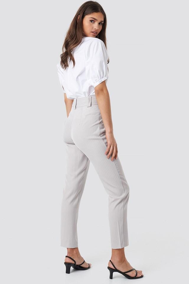 Pinstriped Cigarette Pants Light Grey