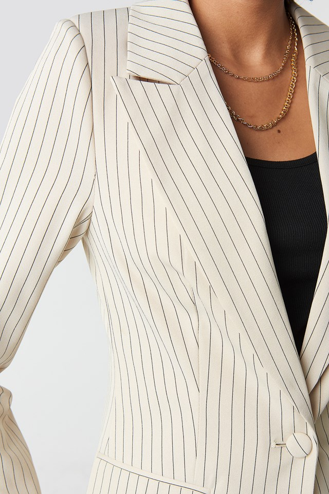 Pinstriped Fitted Blazer Beige