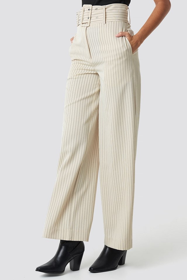 Pinstriped Wide Belted Pants Beige