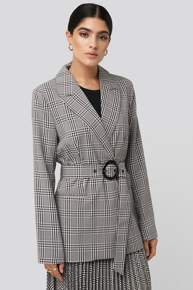 Plaid Buckle Belted Blazer NA-KD Classic