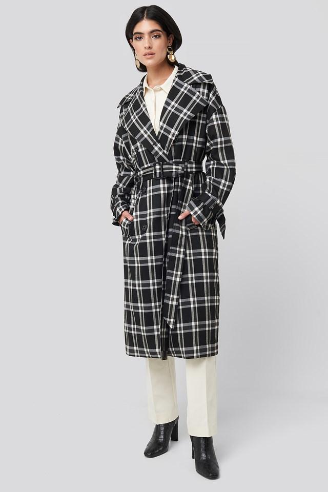 Plaid Oversized Belted Coat Black/White