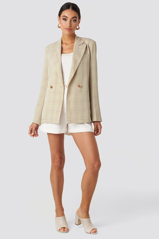 Plaid Relaxed Blazer Beige