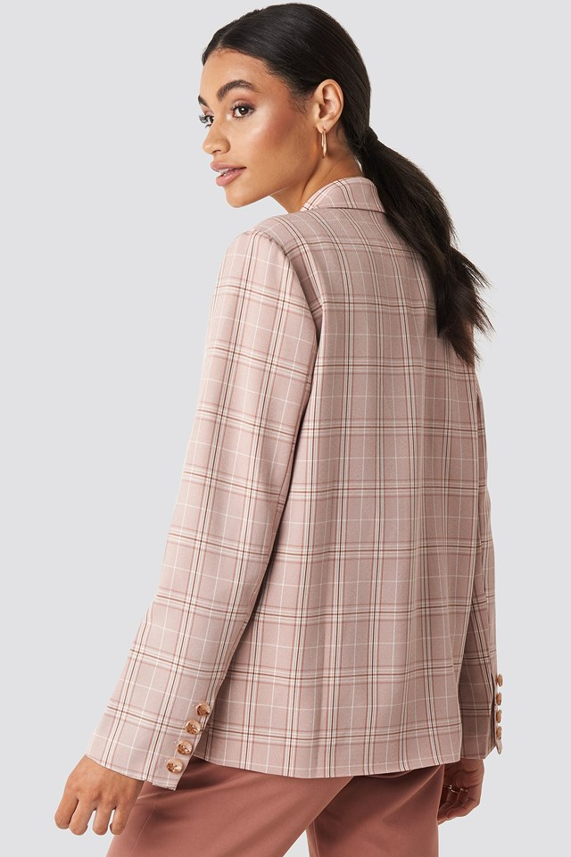 Plaid Relaxed Blazer Dusty Pink