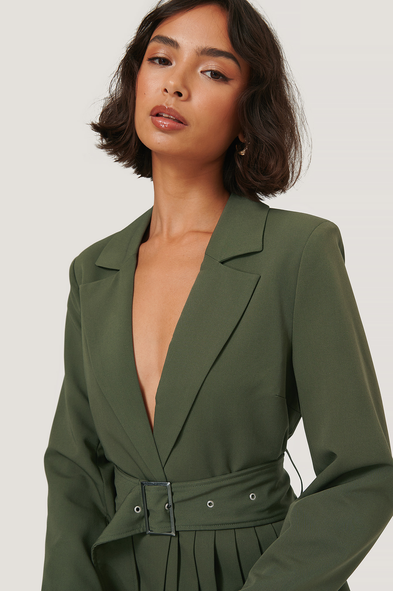 Dark Green Pleat Detail Belted Blazer