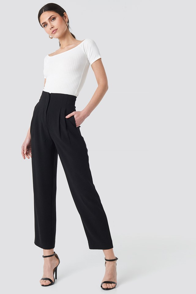 Pleat Detail High Waist Pants NA-KD Trend