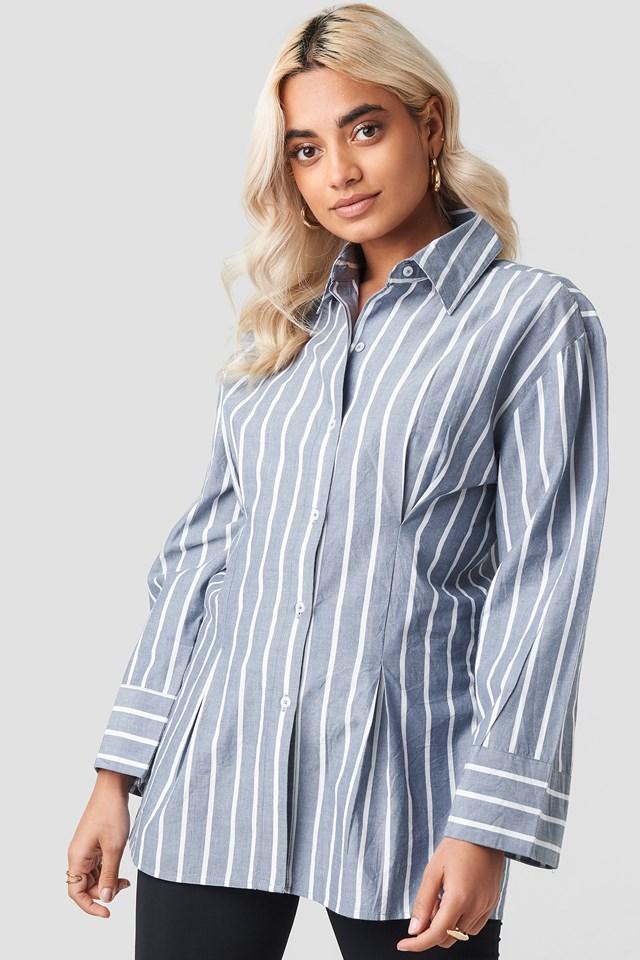 Pleat Detail Oversized Shirt Stripe