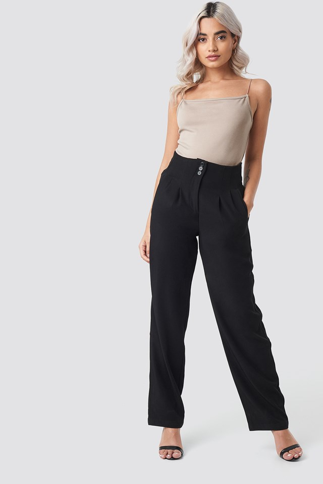 Pleated Buttoned Suit Pants NA-KD Trend