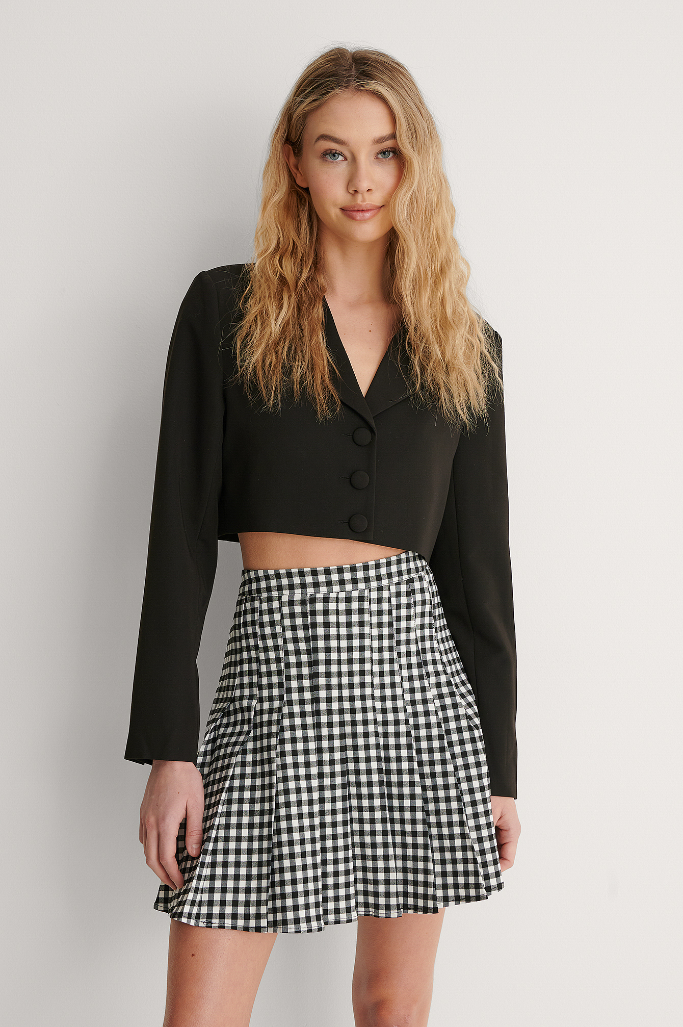 Check Pleated Check Mini Skirt