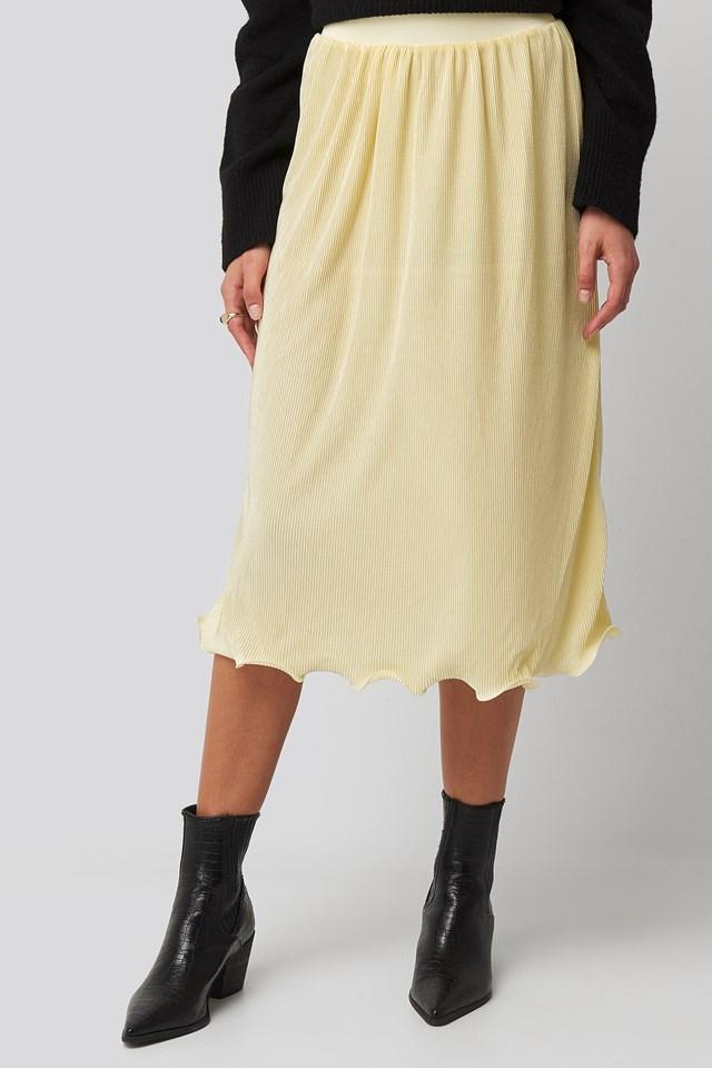 Pleated Detailed Hem Skirt Light Yellow