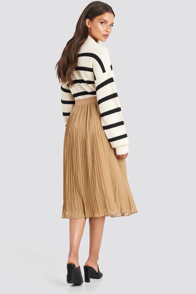 Pleated Midi Skirt Dark Sand
