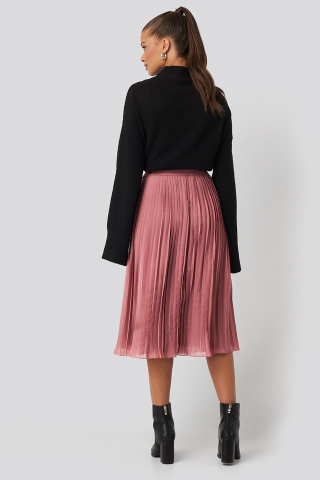 Pleated Midi Skirt Purple Rose