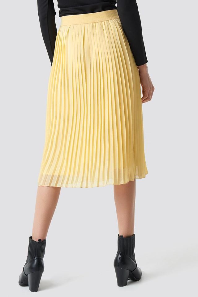 Pleated Midi Skirt Light Yellow