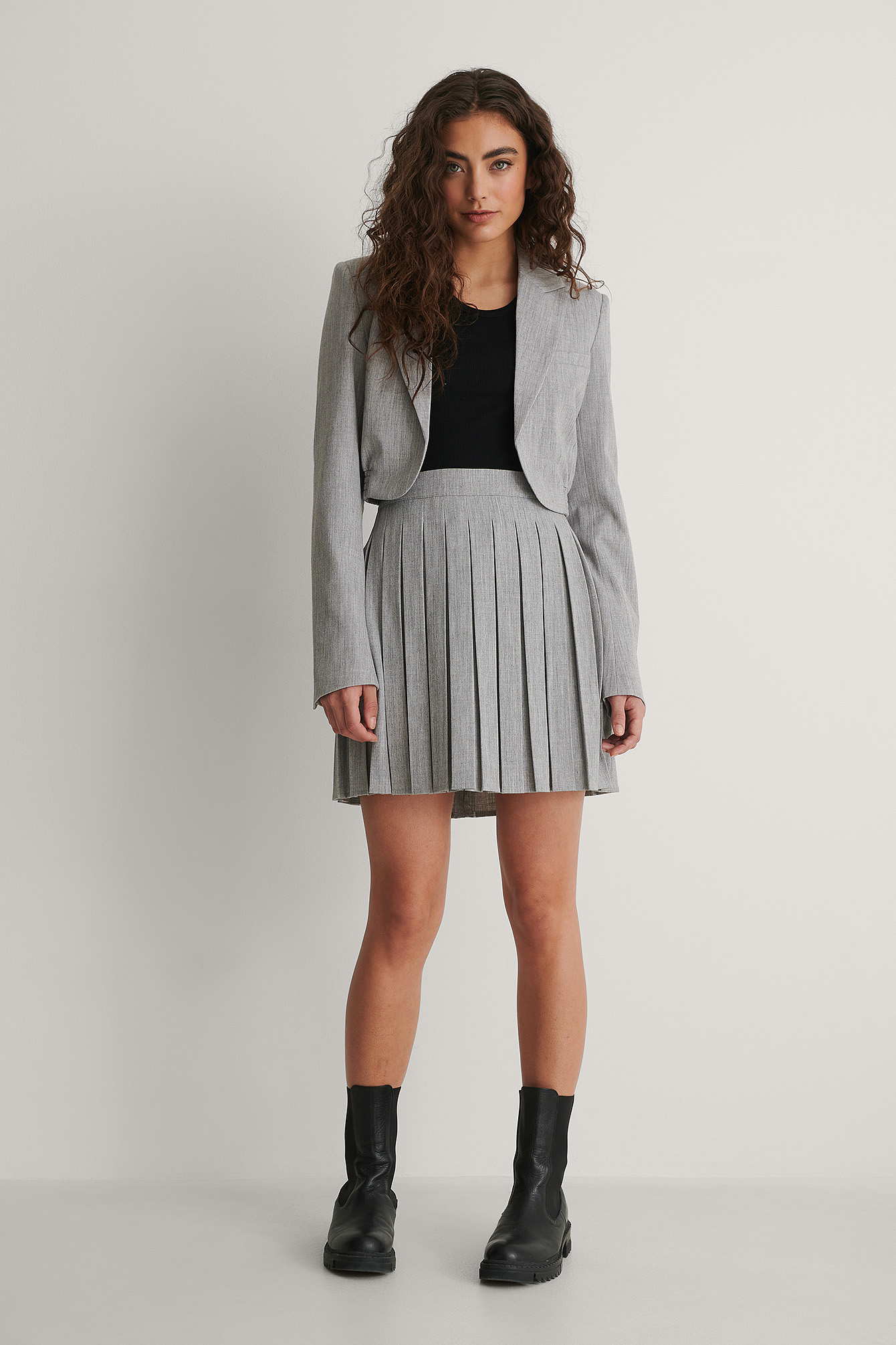 Grey Pleated Mini Skirt
