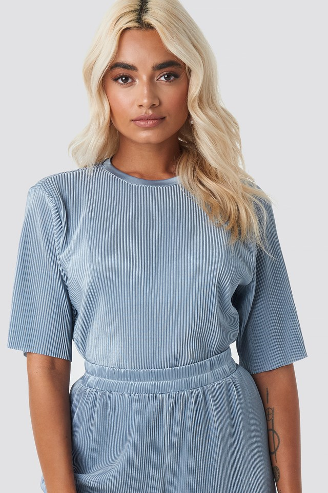 Pleated Short Sleeve Top Blue