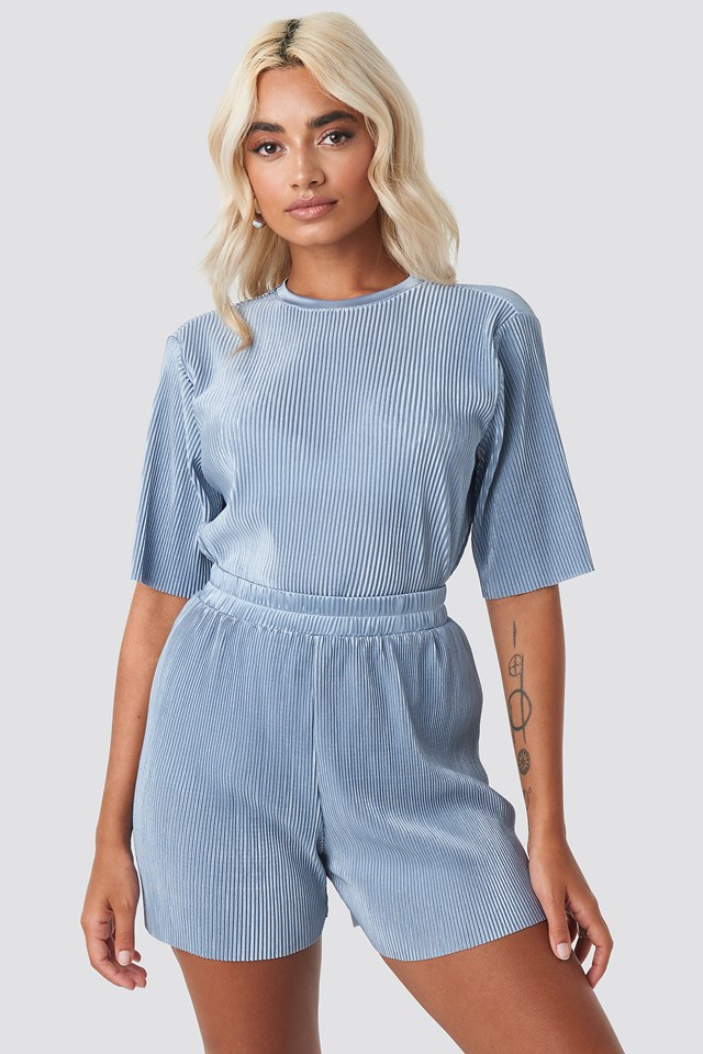 Pleated Shorts Blue