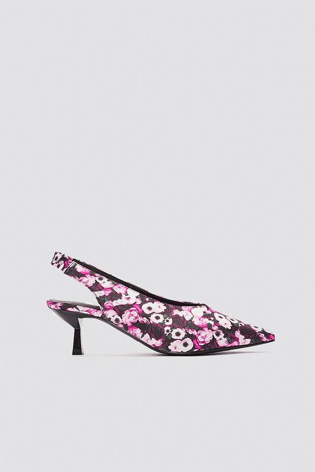 Plunge Kitten Heel Pump Pink Flower