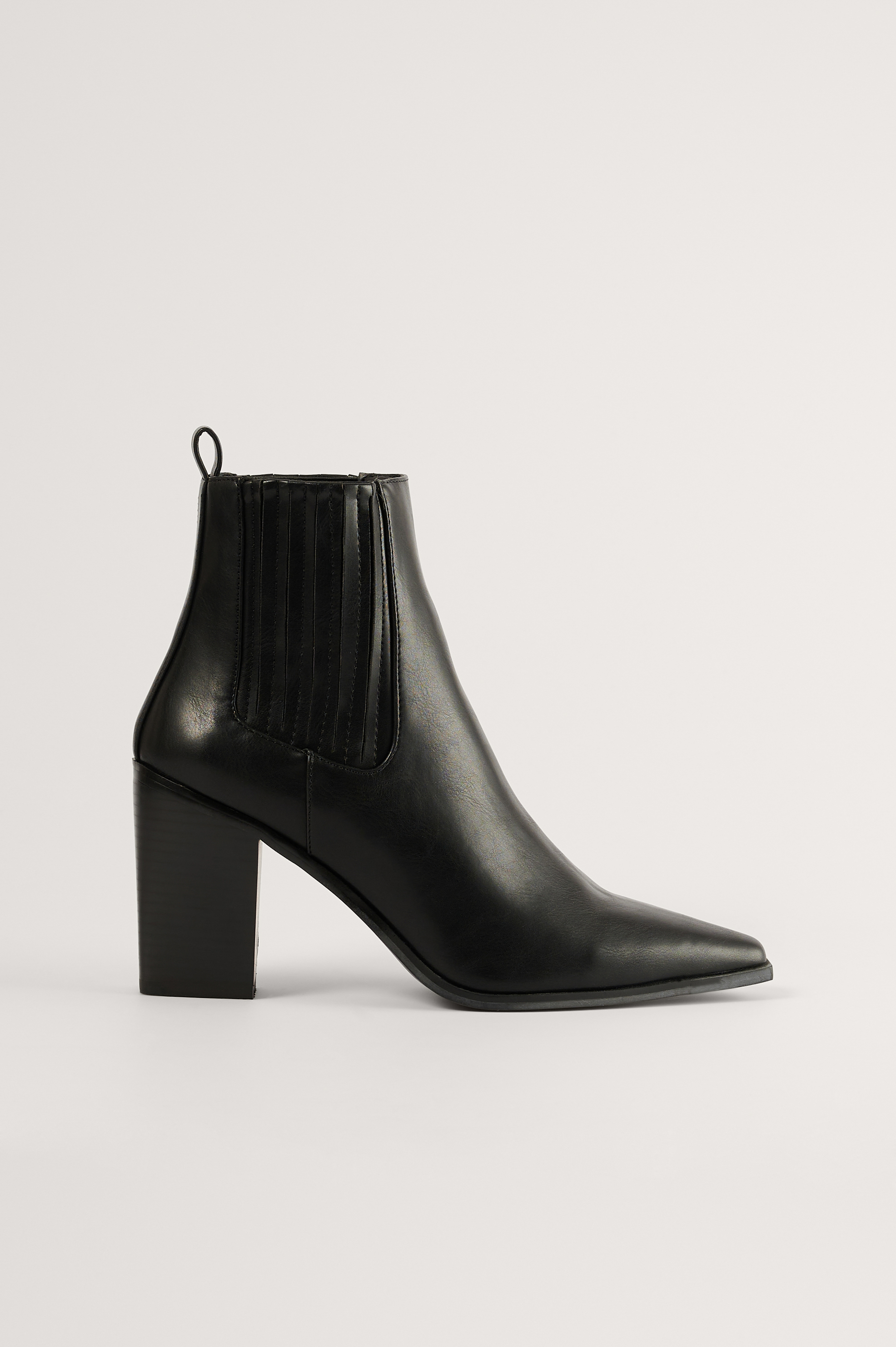 Black Pointy Block Heel Boots