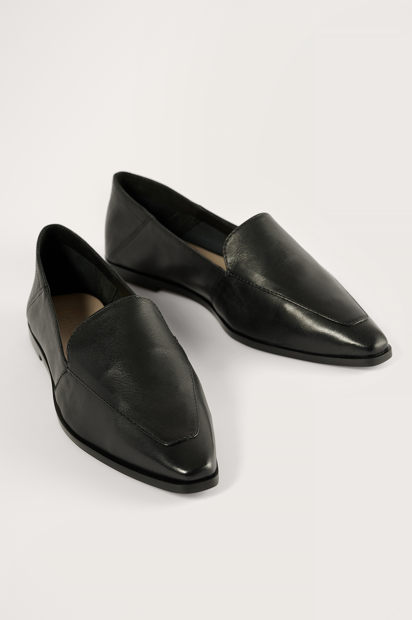 Black Pointy Leather Loafers