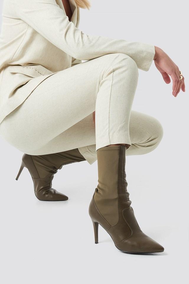 Pointy PU Mix Boots Khaki
