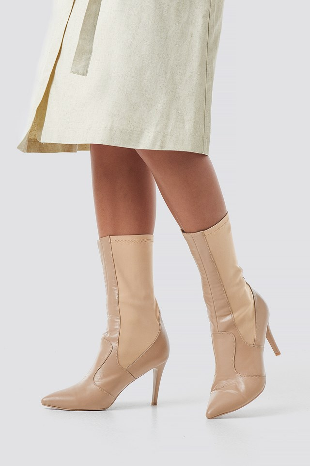 Pointy PU Mix Boots Beige