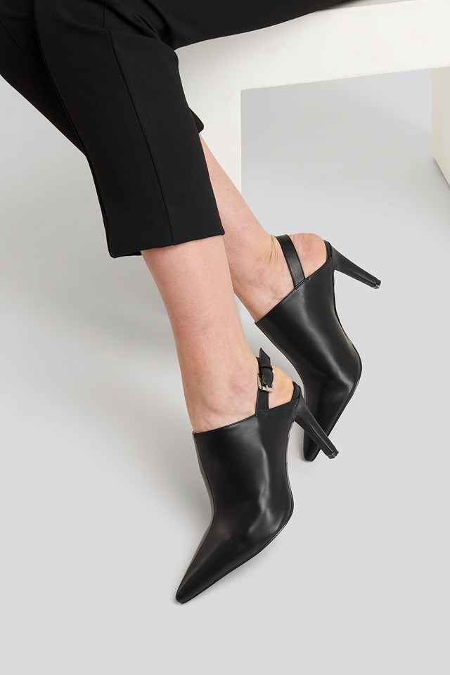 Pointy Slingback Pumps Black