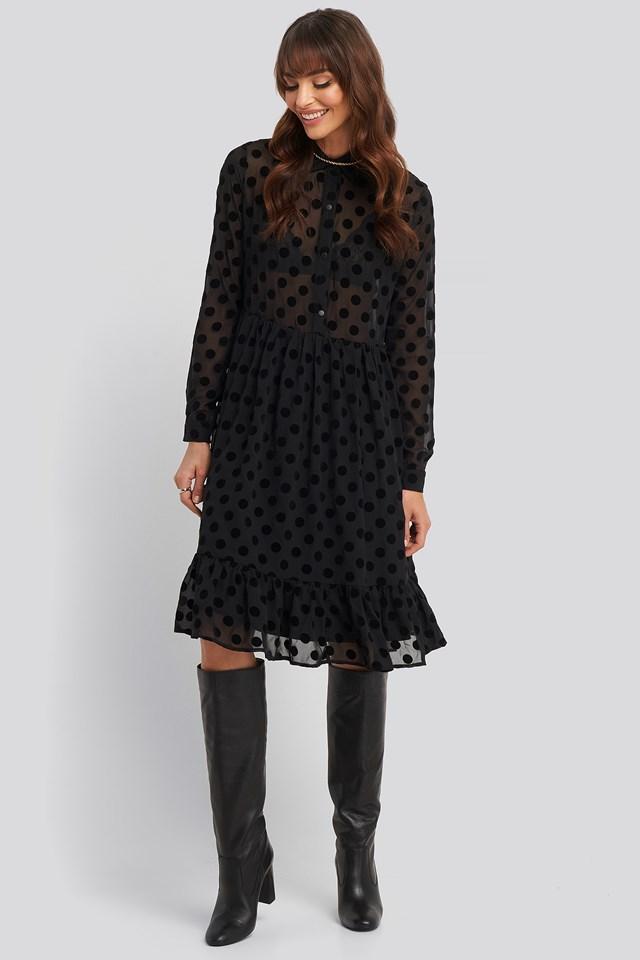 Polka Dot Mesh Dress NA-KD Trend