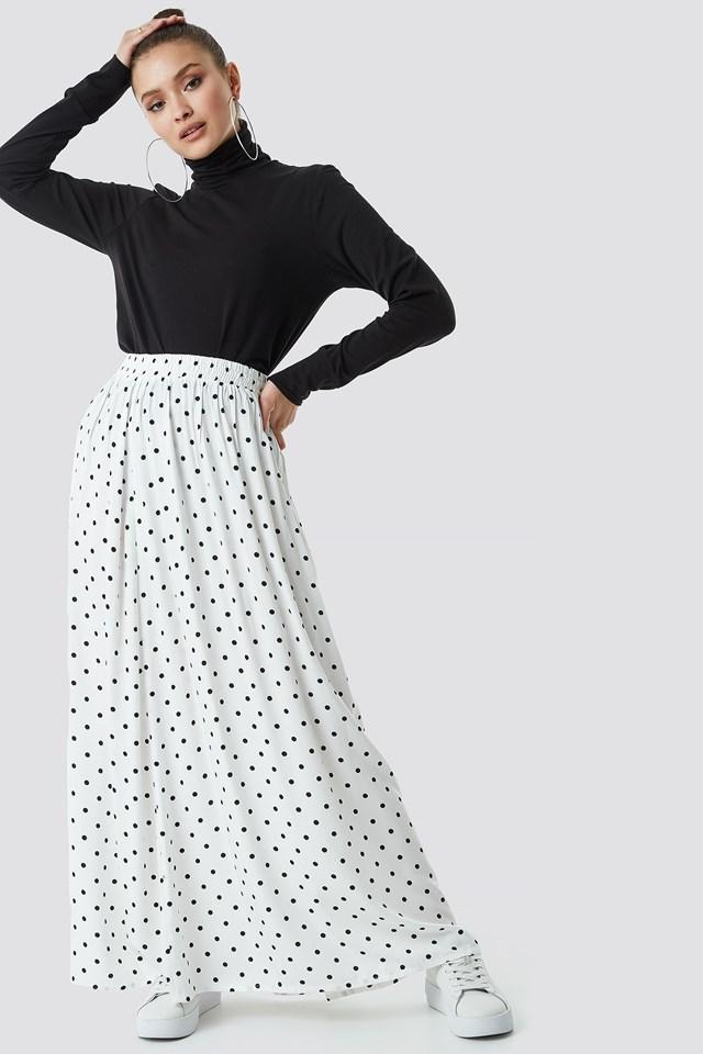 Polka Dot Print Maxi Skirt White/Black